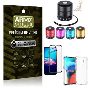 Kit Moto E7 Mini Som Bluetooth + Capa Anti Impacto + Película Vidro 3D - Armyshield