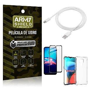 Kit Moto E7 Cabo USB Tipo C 2m + Capa Anti Impacto + Película Vidro 3D - Armyshield