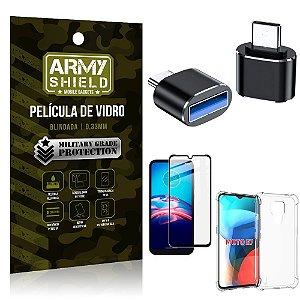 Kit Moto E7 Adaptador OTG Tipo C para USB + Capa Anti Impacto + Película 3D - Armyshield