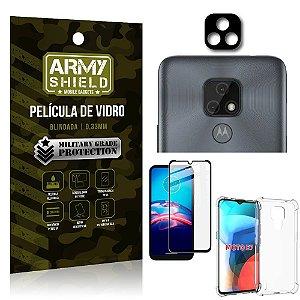 Kit Moto E7 Película de Câmera + Película 3D + Capa Anti Impacto - Armyshield