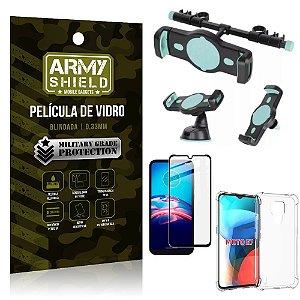Kit Moto E7 Suporte Veicular 3 em 1 + Película 3D + Capa Anti Impacto - Armyshield