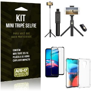 Kit Moto E7 Mini Tripé Selfie Bluetooth para + Capa Anti Impacto + Película 3D - Armyshield