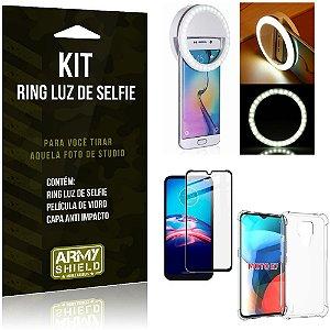 Kit Moto E7 Flash Ring + Capa Anti Impacto + Película de Vidro 3D - Armyshield