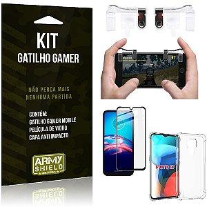 Kit Moto E7 Gatilho Gamer + Capa Anti Impacto + Película Vidro 3D - Armyshield