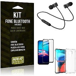 Kit Moto E7 Fone Bluetooth KD901 + Capa Anti Impacto + Película Vidro 3D - Armyshield