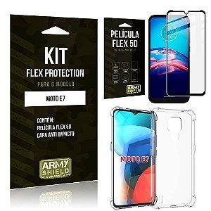 Kit Moto E7 Flex Protection com Película Flex + Capa Anti Impacto - Armyshield