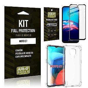 Kit Moto E7 Full Protection com Película de Vidro 3D + Capa Anti Impacto - Armyshield