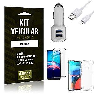 Kit Moto E7 Carregador Veicular Tipo C + Capa Anti Impacto + Película Vidro 3D - Armyshield