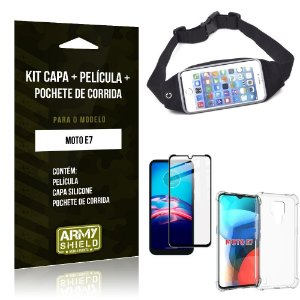 Kit Moto E7 Pochete + Capinha Anti Impacto + Película de Vidro 3D - Armyshield
