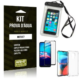 Kit Moto E7 Capinha Prova D'água + Capa Anti Impacto + Película 3D - Armyshield