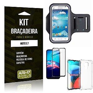 Kit Moto E7 Braçadeira + Capinha Anti Impacto + Película de Vidro 3D - Armyshield