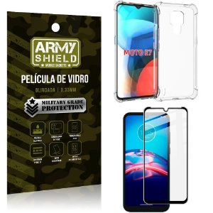 Kit Moto E7 Capinha Anti Impacto + Película de Vidro 3D - Armyshield