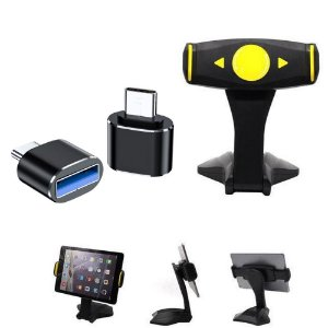 Kit Suporte de Mesa para Tablet + Adaptador OTG Tipo C - Armyshield