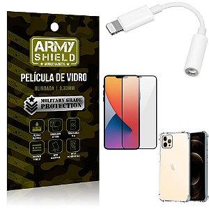 Kit iPhone 12 Pro Max Adaptador Fone + Capa Anti Impacto + Película Vidro 3D - Armyshield