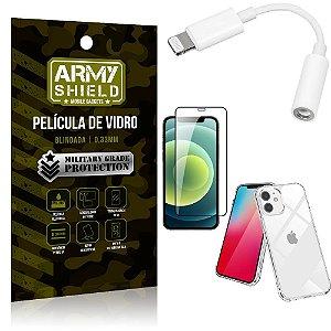 Kit iPhone 12 Mini Adaptador Fone + Capa Anti Impacto + Película Vidro 3D - Armyshield
