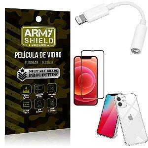 Kit iPhone 12 Adaptador Fone + Capa Anti Impacto + Película Vidro 3D - Armyshield