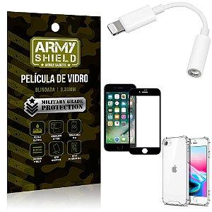 Kit iPhone SE 2020 Adaptador Fone + Capa Anti Impacto + Película Vidro 3D - Armyshield