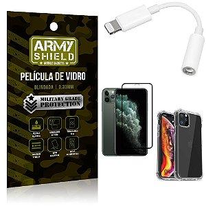 Kit iPhone 11 Pro Adaptador Fone + Capa Anti Impacto + Película Vidro 3D - Armyshield
