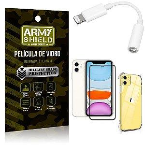 Kit iPhone 11 Adaptador Fone + Capa Anti Impacto + Película Vidro 3D - Armyshield
