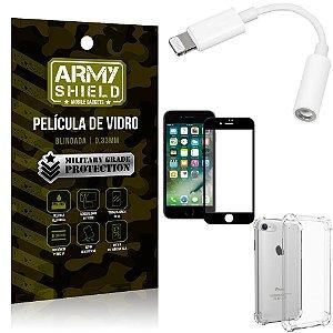 Kit iPhone 8 Adaptador Fone + Capa Anti Impacto + Película Vidro 3D - Armyshield