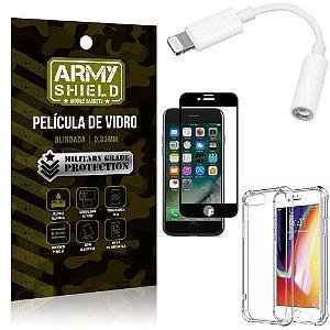 Kit iPhone 7 Plus Adaptador Fone + Capa Anti Impacto + Película Vidro 3D - Armyshield