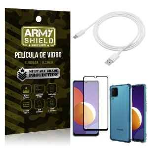 Kit Galaxy M12 Cabo USB Tipo C 2m + Capa Anti Impacto + Película Vidro 3D - Armyshield