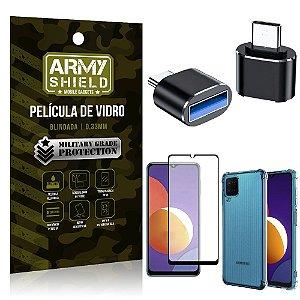 Kit Galaxy M12 Adaptador OTG Tipo C para USB + Capa Anti Impacto + Película 3D - Armyshield