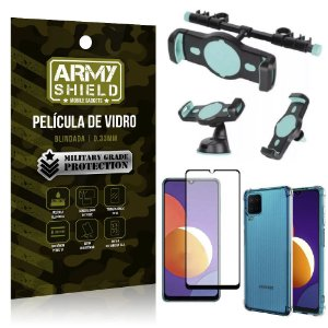 Kit Galaxy M12 Suporte Veicular 3 em 1 + Película 3D + Capa Anti Impacto - Armyshield