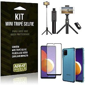 Kit Galaxy M12 Mini Tripé Selfie Bluetooth para + Capa Anti Impacto + Película 3D - Armyshield