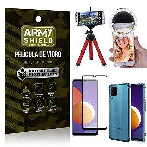 Kit Galaxy M12 Tripé Flex + Flash Ring + Capa Anti Impacto + Película 3D - Armyshield