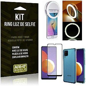 Kit Galaxy M12 Flash Ring + Capa Anti Impacto + Película de Vidro 3D - Armyshield