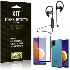 Kit Galaxy M12 Fone Bluetooth HS188 + Película 3D + Capa Anti Impacto - Armyshield