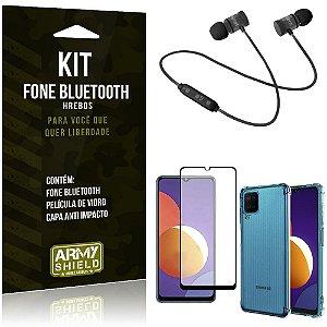 Kit Galaxy M12 Fone Bluetooth KD901 + Capa Anti Impacto + Película Vidro 3D - Armyshield