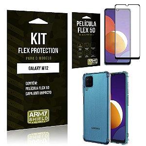 Kit Galaxy M12 Flex Protection com Película Flex + Capa Anti Impacto - Armyshield