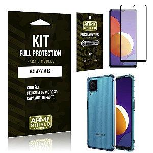 Kit Galaxy M12 Full Protection com Película de Vidro 3D + Capa Anti Impacto - Armyshield