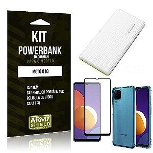 Kit Galaxy M12 Carregador Portátil 10K Tipo C + Capa Anti Impacto + Película Vidro 3D -Armyshield