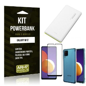 Kit Galaxy M12 Carregador Portátil 5K Tipo C + Capa Anti Impacto + Película Vidro 3D - Armyshield