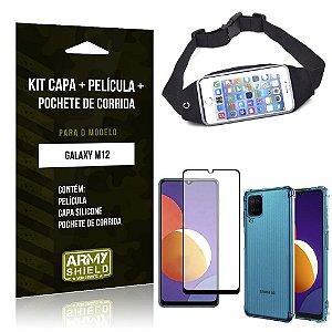 Kit Galaxy M12 Pochete + Capinha Anti Impacto + Película de Vidro 3D - Armyshield