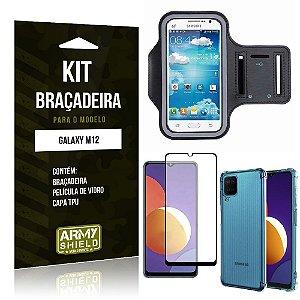 Kit Galaxy M12 Braçadeira + Capinha Anti Impacto + Película de Vidro 3D - Armyshield