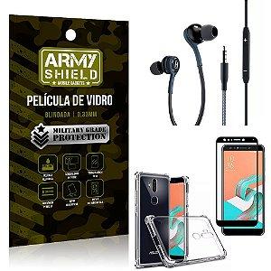Kit Zenfone 5 Selfie ZC600KL Fone Extreme + Capa Anti Impacto + Película 3D - Armyshield