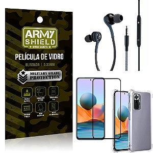 Kit Redmi Note 10 Pro Fone Extreme + Capa Anti Impacto + Película 3D - Armyshield