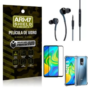 Kit Redmi Note 9 Fone Extreme + Capa Anti Impacto + Película 3D - Armyshield