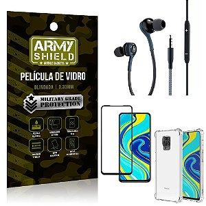 Kit Redmi Note 9 Pro Fone Extreme + Capa Anti Impacto + Película 3D - Armyshield