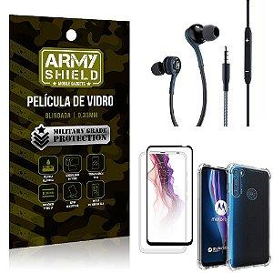 Kit Moto One Fusion Plus Fone Extreme + Capa Anti Impacto + Película 3D - Armyshield