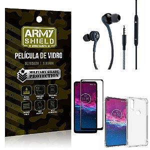 Kit Moto One Action Fone Extreme + Capa Anti Impacto + Película 3D - Armyshield