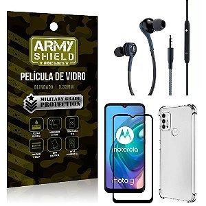 Kit Moto G10 Fone Extreme + Capa Anti Impacto + Película 3D - Armyshield