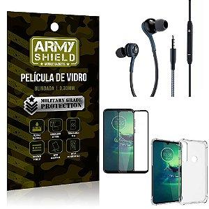 Kit Moto G8 Play Fone Extreme + Capa Anti Impacto + Película 3D - Armyshield