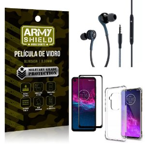 Kit Moto One Zoom Fone Extreme + Capa Anti Impacto + Película 3D - Armyshield