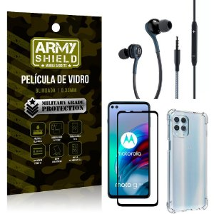 Kit Moto G100 Fone Extreme + Capa Anti Impacto + Película 3D - Armyshield