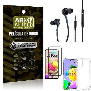 Kit LG K52 Fone Extreme + Capa Anti Impacto + Película 3D - Armyshield